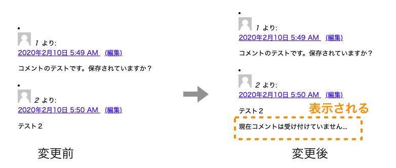 コメント無許可時に表示結果を変更する例