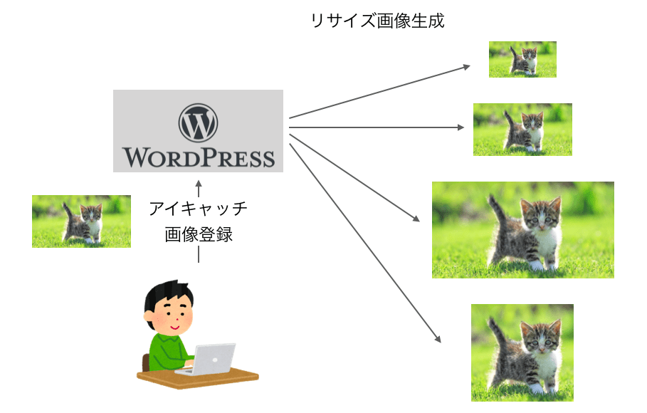 ワードプレスがリサイズ処理で複数の画像を生成する様子