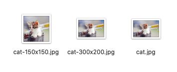 リサイズされた複数の画像