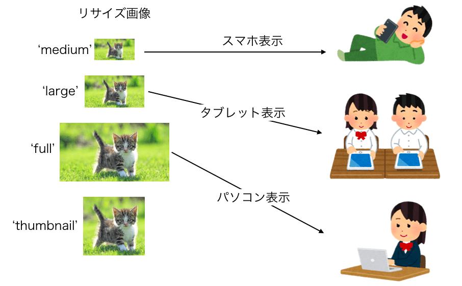 srcset指定でブラウザによって表示される画像が切り替わる様子