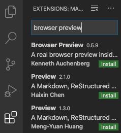 browser previewプラグインの検索