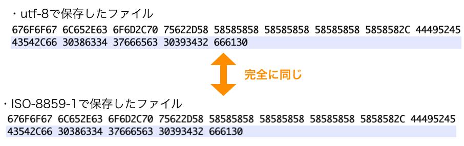 文字コードによる違い