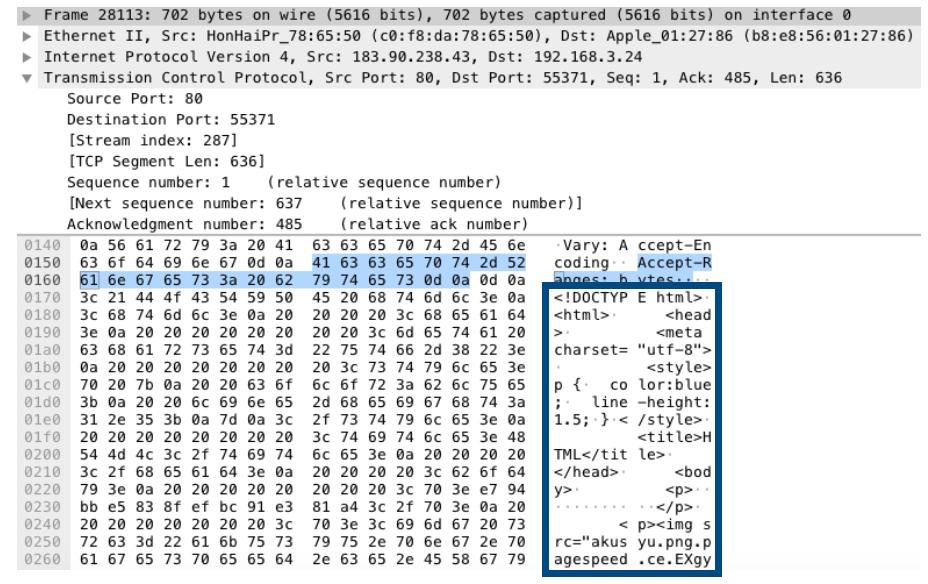 暗号化されていないデータのパケットキャプチャ結果